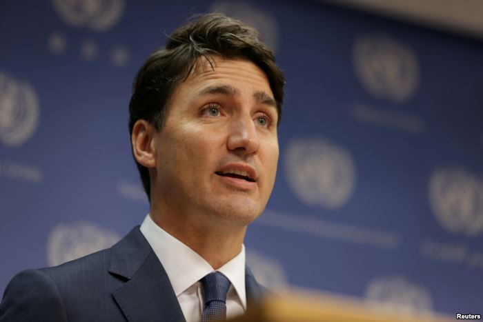 FILE - Canadian Prime Minister, Justin Trudeau, speaks during a news conferen