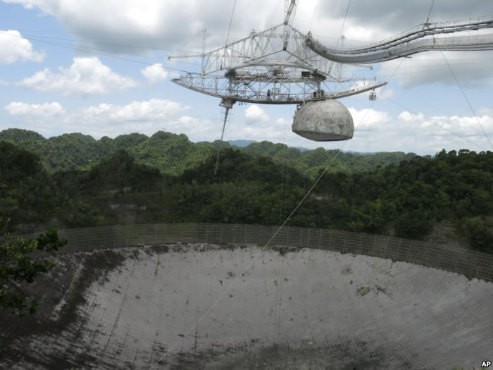 FILE - The world's largest single-dish radio telescope at the Arecibo Obs