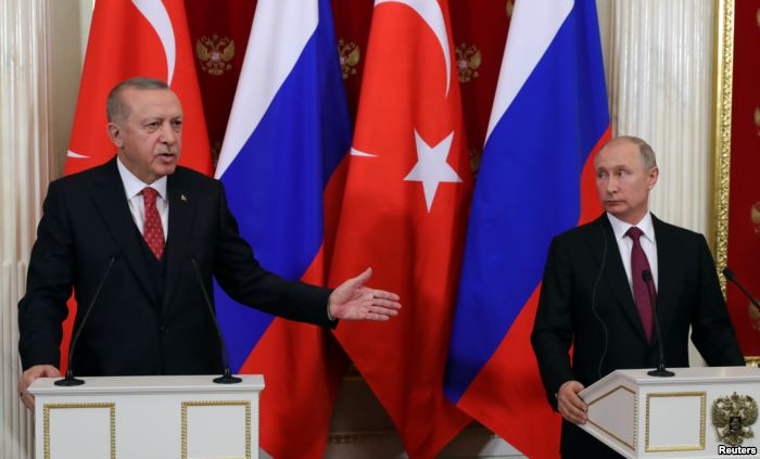 Russian President Vladimir Putin and his Turkish counterpart Recep Tayyip Erd