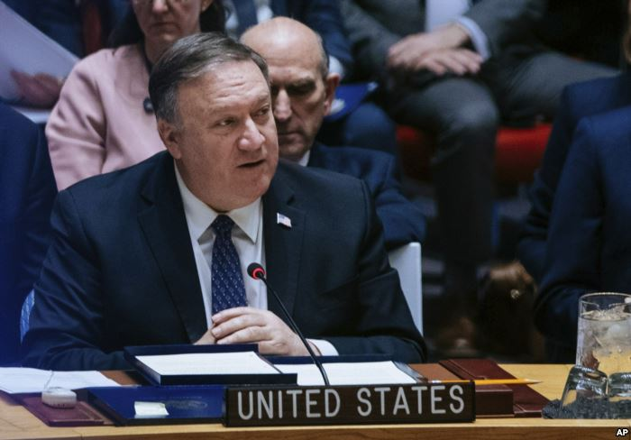 U.S. Secretary of State Mike Pompeo speaks at the U.N. Security Council at th