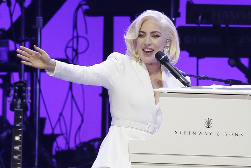 FILE--In this Oct. 21, 2017, file photo, Lady Gaga performs during a hurricanes relief concert in College Station, Texas. (AP Photo/LM Otero, File)