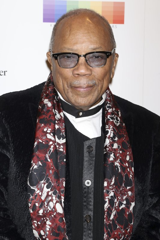 FILE - In this Dec. 3, 2017 file photo, Quincy Jones attends the 40th Annual Kennedy Center Honors at The Kennedy Center Hall of States in Washington. (Photo by Greg Allen/Invision/AP, File)