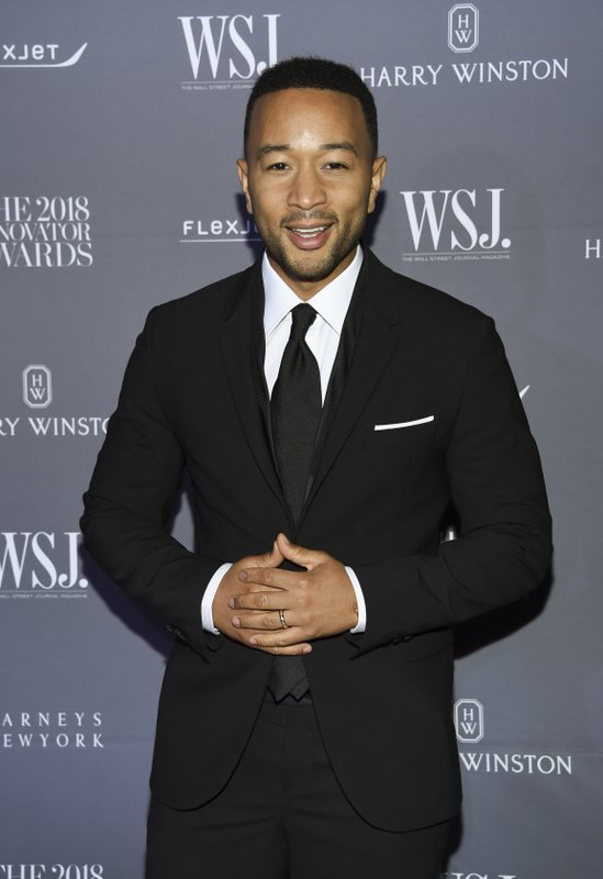 FILE - In this Nov. 7, 2018 file photo, honoree John Legend attends the WSJ Magazine 2018 Innovator Awards at the Museum of Modern Art in New York. (Photo by Evan Agostini/Invision/AP, File)