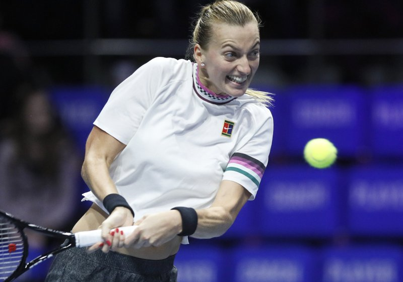 Petra Kvitova of Czech Republic returns the ball to Donna Vekic of Croatia during the St. Petersburg Ladies Trophy-2019 tennis tournament quarter final match in St. (AP Photo/Dmitri Lovetsky)