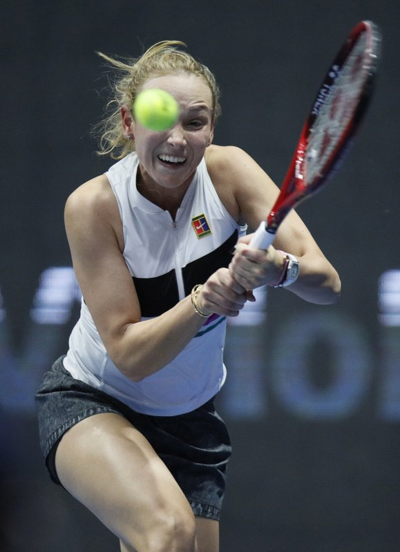 Donna Vekic of Croatia returns the ball to Petra Kvitova of Czech Republic during the St. Petersburg Ladies Trophy-2019 tennis tournament quarter final match in St. (AP Photo/Dmitri Lovetsky)