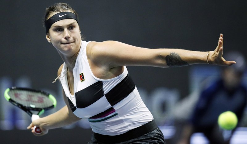 Aryna Sabalenka of Belarus returns the ball to Ekaterina Alexandrova of Russia during the St. Petersburg Ladies Trophy-2019 tennis tournament quarter final match in St. (AP Photo/Dmitri Lovetsky)