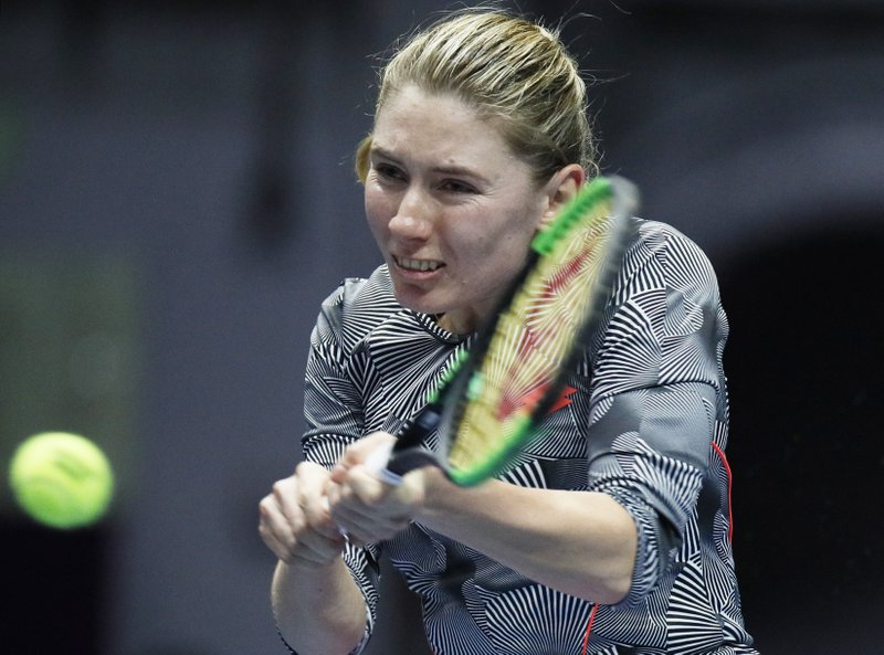 Ekaterina Alexandrova of Russia returns the ball to Aryna Sabalenka of Belarus during the St. Petersburg Ladies Trophy-2019 tennis tournament quarter final match in St. (AP Photo/Dmitri Lovetsky)
