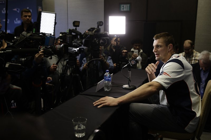 New England Patriots tight end Rob Gronkowski speaks with members of the media during a news conference Thursday, Jan. (AP Photo/Matt Rourke)