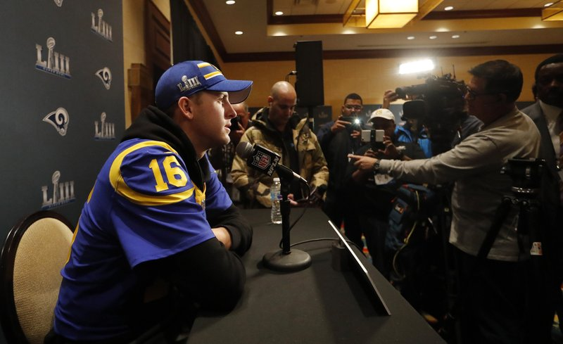 Los Angeles Rams quarterback Jared Goff speaks to reporters during a press availability ahead of the NFL Super Bowl 53 football game against the New England Patriots, Thursday, Jan. (AP Photo/John Bazemore)