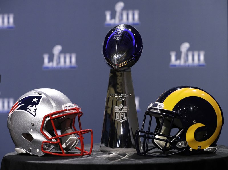 The Vince Lombardi Trophy is displayed before a news conference for the NFL Super Bowl 53 football game Wednesday, Jan. (AP Photo/David J. Phillip)