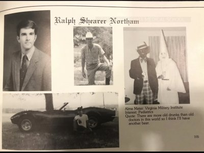 Virginia Gov. Ralph Northam acknowledged Friday that he appears in a photo on his 1984 medical school yearbook page that shows a person in blackface and another wearing a Ku Klux Klan robe. (Feb. 1)