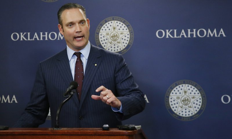 FILE - In this May 11, 2017 file photo, Oklahoma state Rep. Charles McCall, R-Atoka, Speaker of the House, speaks during a news conference in Oklahoma City. (AP Photo/Sue Ogrocki, File)