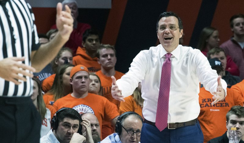 Nebraska head coach Tim Miles pleads his case to the referee during the first half of an NCAA college basketball game against Illinois in Champaign, Ill. (AP Photo/Robin Scholz)