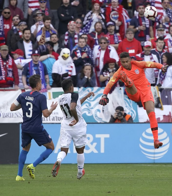 United States goalkeeper Zack Steffen (1) kicks the ball away from Costa Rica forward Jose Guillermo Ortiz (11) during the first half of an international friendly soccer match on Saturday, Feb. (AP Photo/Tony Avelar)