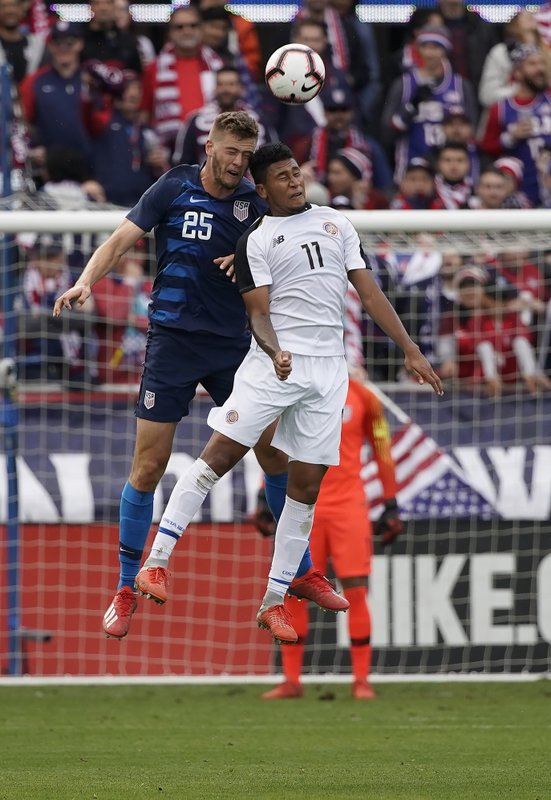 United States midfielder Jonathan Lewis (18) goes up for a header against Costa Rica forward Jose Guillermo Ortiz (11) during the first half of an international friendly soccer match on Saturday, Feb. (AP Photo/Tony Avelar)