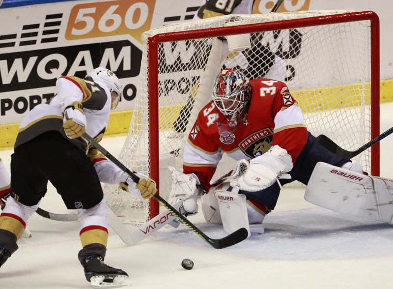 Vegas Golden Knights center William Karlsson, left, attempts to shoot at Florida Panthers goaltender James Reimer (34) during the second period of an NHL hockey game, Saturday, Feb. (AP Photo/Wilfredo Lee)