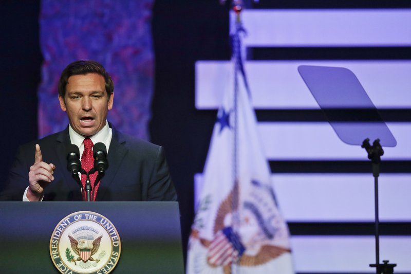 Gov. Ron DeSantis speaks at Iglesia Doral Jesus Worship Center on the political crisis in Venezuela on Friday, Feb. (AP Photo/Brynn Anderson)