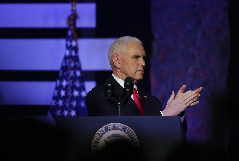 Vice President Mike Pence speaks at Iglesia Doral Jesus Worship Center during a rally on the political crisis in Venezuela on Friday, Feb. (AP Photo/Brynn Anderson)