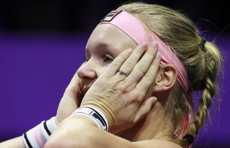 Kiki Bertens of Netherlands reacts during the St. Petersburg Ladies Trophy-2019 tennis tournament final match against Donna Vekic of Croatiain St. (AP Photo/Dmitri Lovetsky)