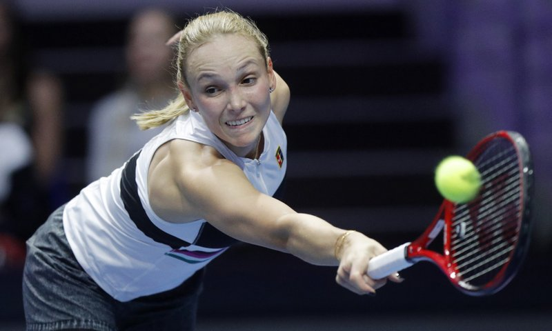 Donna Vekic of Croatia returns the ball to Kiki Bertens of the Netherlands during the St. Petersburg Ladies Trophy-2019 tennis tournament final match in St. (AP Photo/Dmitri Lovetsky)