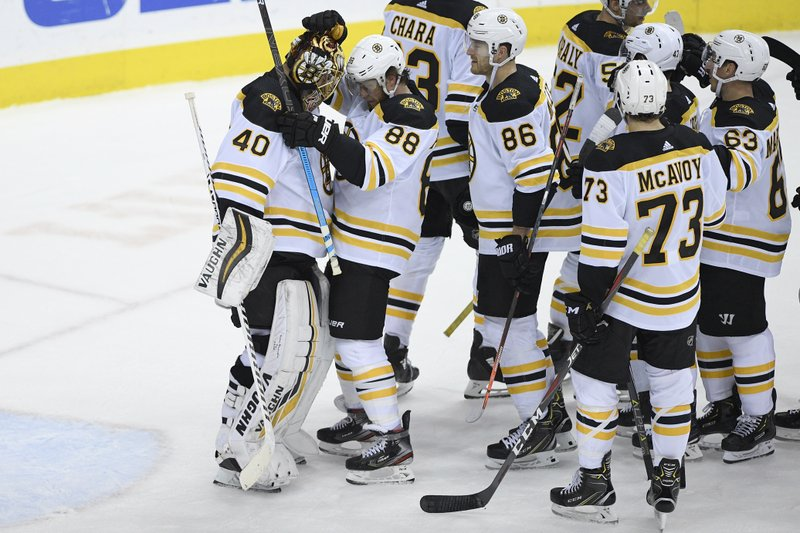 Boston Bruins goaltender Tuukka Rask (40), of Finland, celebrates with right wing David Pastrnak (88), defenseman Kevan Miller (86), defenseman Charlie McAvoy (73), left wing Brad Marchand (63) and others after an NHL hockey game against the Washington Capitals, Sunday, Feb. (AP Photo/Nick Wass)