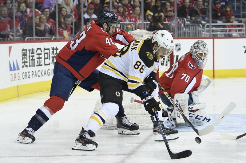 Boston Bruins right wing David Pastrnak (88) battles for the puck against Washington Capitals right wing Tom Wilson (43) as Capitals goaltender Braden Holtby (70) watches during the first period of an NHL hockey game, Sunday, Feb. (AP Photo/Nick Wass)