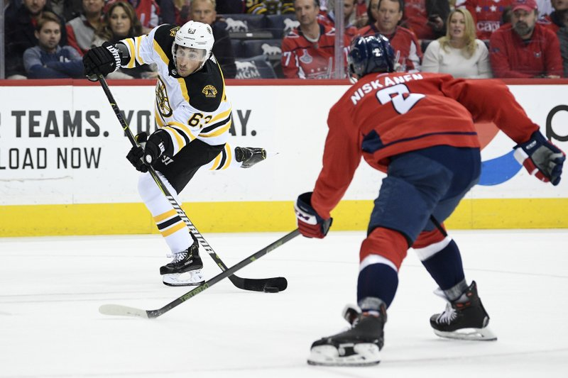 Boston Bruins left wing Brad Marchand (63) winds up to shoot against Washington Capitals defenseman Matt Niskanen (2) during the first period of an NHL hockey game, Sunday, Feb. (AP Photo/Nick Wass)