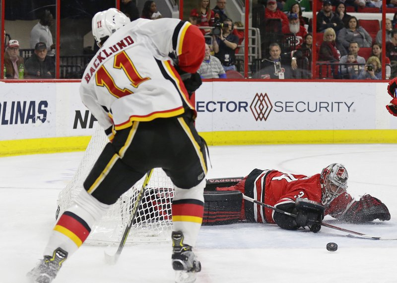 Carolina Hurricanes goalie Petr Mrazek (34), of the Czech Republic, blocks Calgary Flames' Mikael Backlund (11), of Sweden, during the second period of an NHL hockey game in Raleigh, N. (AP Photo/Gerry Broome)