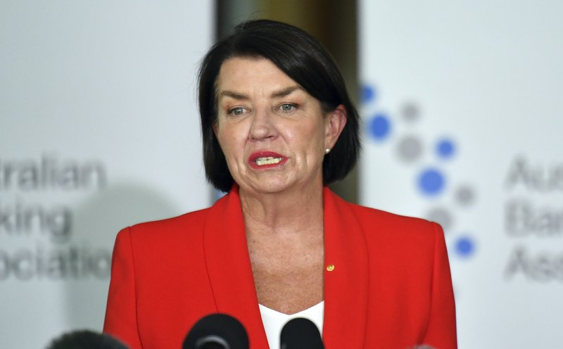 Australian Banking Association CEO Anna Bligh speaks at a press conference in response to the releasing of the Banking Royal Commission findings at Parliament House in Canberra, Monday, Feb. (Mick Tsikas/AAP Image via AP)