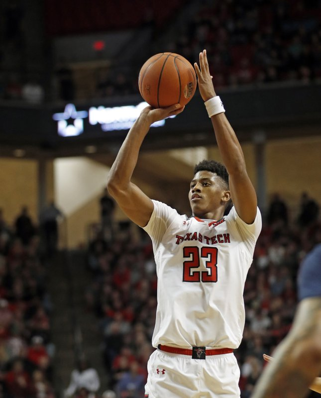 Texas Tech's Jarrett Culver (23) shoots the ball during the first half of an NCAA college basketball game against West Virginia, Monday, Feb. (AP Photo/Brad Tollefson)