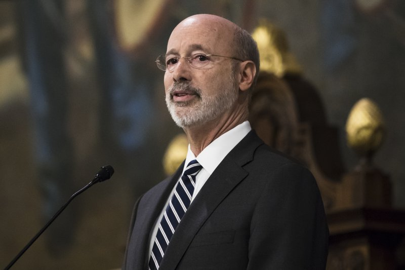 Democratic Gov. Tom Wolf delivers his budget address for the 2019-20 fiscal year to a joint session of the Pennsylvania House and Senate in Harrisburg, Pa. (AP Photo/Matt Rourke)