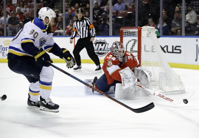 Florida Panthers goaltender James Reimer (34) stops the puck in front of St. Louis Blues center Ryan O'Reilly (90) during the first period of an NHL hockey game, Tuesday, Feb. (AP Photo/Lynne Sladky)