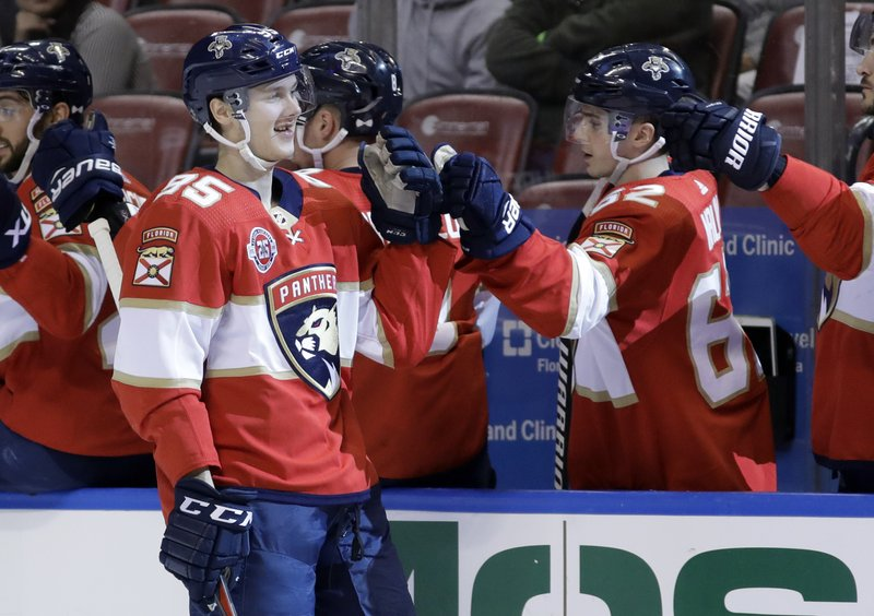 Florida Panthers center Henrik Borgstrom (95) is congratulated by center Denis Malgin after scoring a goal against the St. (AP Photo/Lynne Sladky)