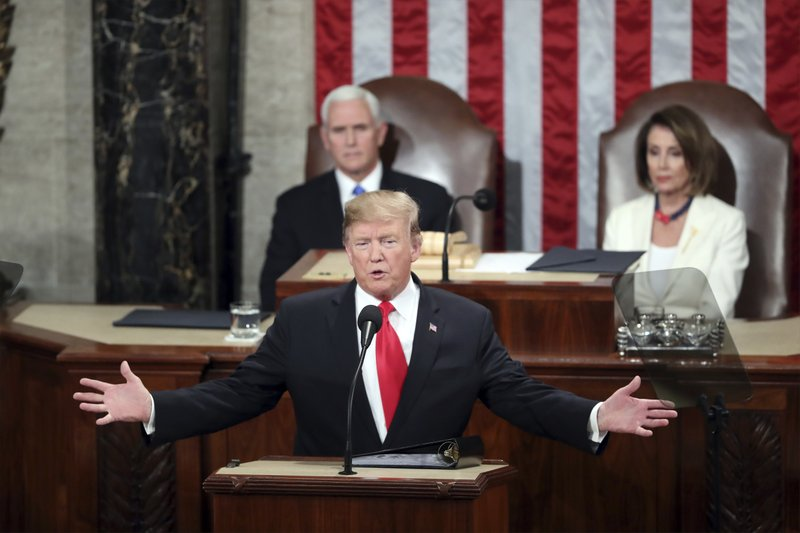 President Donald Trump delivers his State of the Union address to a joint session of Congress on Capitol Hill in Washington, as Vice President Mike Pence and Speaker of the House Nancy Pelosi, D-Calif. (AP Photo/Andrew Harnik)