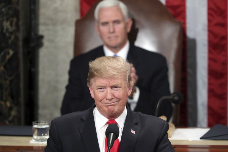 President Donald Trump delivers his State of the Union address to a joint session of Congress on Capitol Hill in Washington, as Vice President Mike Pence watchrd, Tuesday, Feb. (AP Photo/Andrew Harnik)