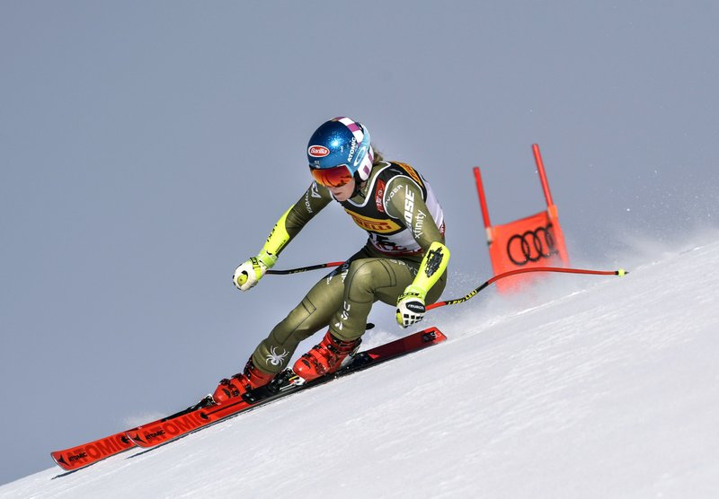 United States' Mikaela Shiffrin competes during the women's super G at the alpine ski World Championships, in Are, Sweden, Tuesday, Feb. (Pontus Lundahl/TT via AP)