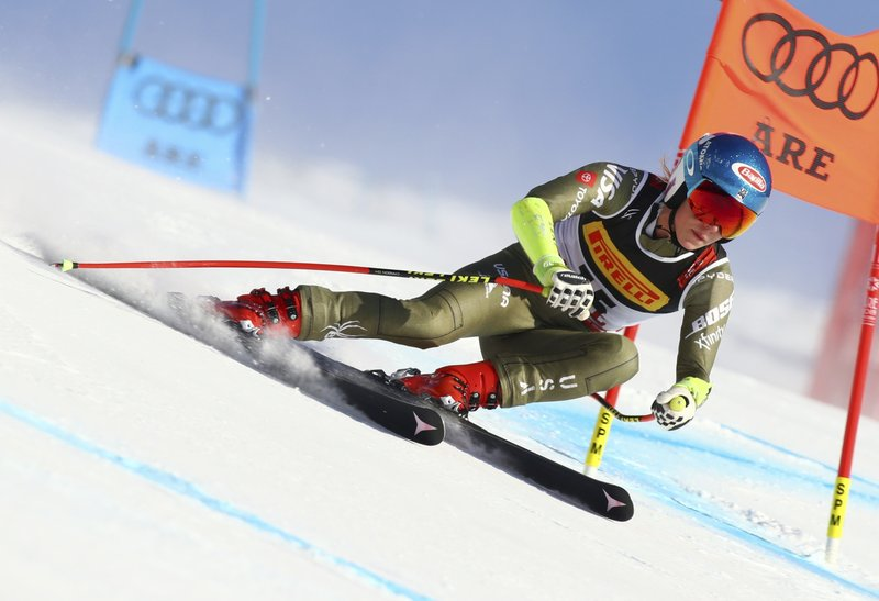 United States' Mikaela Shiffrin competes on her way to win the women's super G at the alpine ski World Championships, in Are, Sweden, Tuesday, Feb. (AP Photo/Alessandro Trovati)