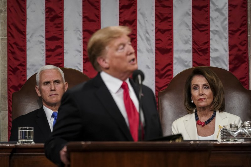 President Donald Trump gives his State of the Union address to a joint session of Congress, Tuesday, Feb. (Doug Mills/The New York Times via AP, Pool)