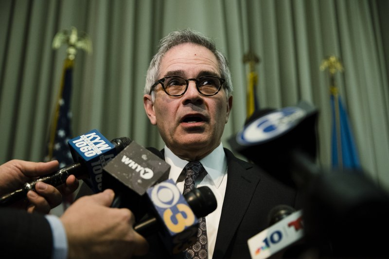 Philadelphia District Attorney Larry Krasner comments on a federal lawsuit to stop a nonprofit from opening a safe injection site to address the city's opioid problem in Philadelphia, Wednesday, Feb. (AP Photo/Matt Rourke)