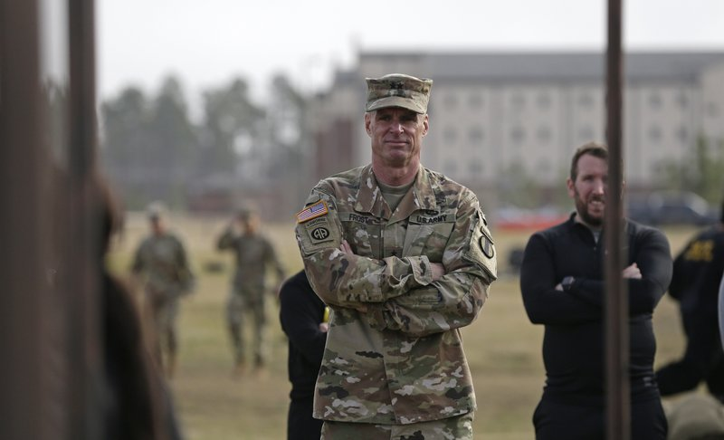 In this Jan. 8, 2019, photo, Maj. Gen. Malcolm B. Frost, Commanding General for the U.S. Army Center for Initial Military Training, U. (AP Photo/Gerry Broome)