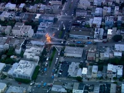 An explosion on a gas line has set at least one San Francisco building on fire and is sending huge plumes of fire and smoke into the air, prompting evacuations of nearby buildings. (Feb. 6)