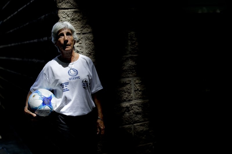 In this Jan. 31, 2019 photo, Elba Selva, former player of Argentina national women's soccer team, poses for a photo in Buenos Aires, Argentina. (AP Photo/Natacha Pisarenko)