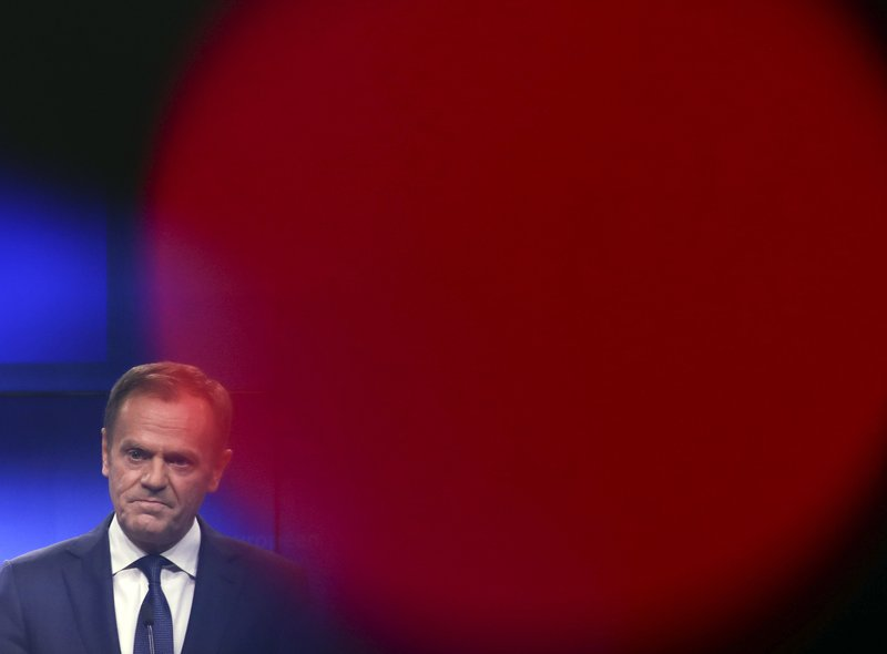 European Council President Donald Tusk makes a joint statement with Irish Prime Minister Leo Varadkar following their meeting at the Europa building in Brussels, Wednesday, Feb. (AP Photo/Francisco Seco)