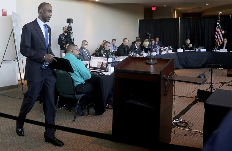 FILE - In this Nov. 15, 2018, file photo, Broward County School Superintendent Robert Runcie walks to the podium to testify during the Marjory Stoneman Douglas High School Public Safety Commission in Sunrise, Fla. (Mike Stocker/South Florida Sun-Sentinel via AP, Pool, File)
