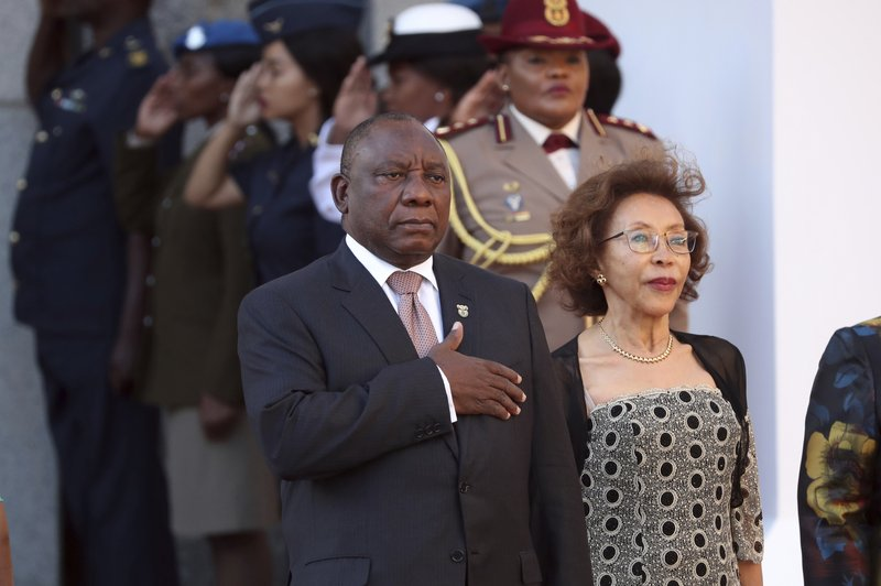 South African President, Cyril Ramaphosa and his wife, Tshepo, arrive at parliament in Cape Town, South Africa, Thursday, Feb. (Mike Hutchings, Pool via AP)