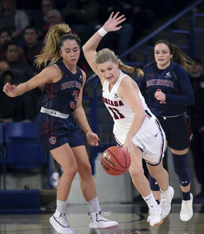 Gonzaga guard Laura Stockton (11) heads downcourt past Saint Mary's guard Jasmine Forcadilla (3) during the first half of an NCAA  college basketball game, Thursday, Jan. (Colin Mulvany/The Spokesman-Review via AP)