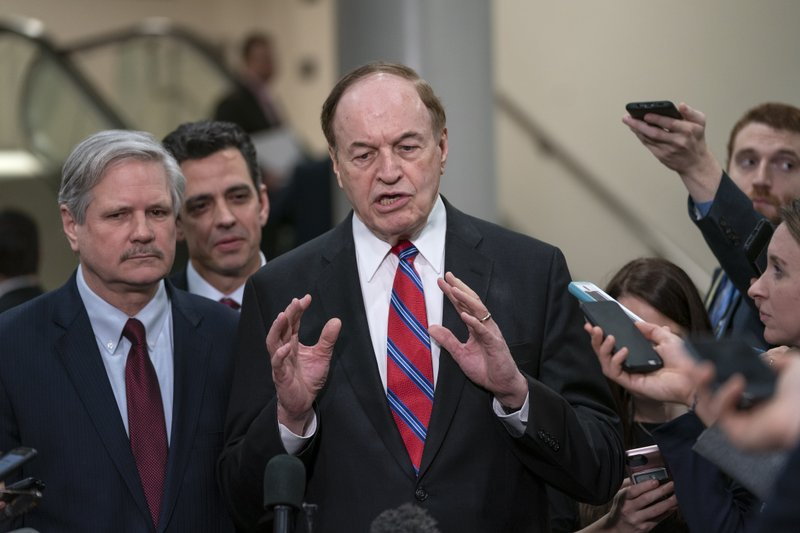 From left, Sen. John Hoeven, R-N.D., Rep. Tom Graves, R-Ga., and Sen. Richard Shelby, R-Ala., the top Republican on the bipartisan group bargainers working to craft a border security compromise in hope of avoiding another government shutdown, speak with reporters after a briefing with officials about the US-Mexico border, on Capitol Hill in Washington, Wednesday, Feb. (AP Photo/J. Scott Applewhite)