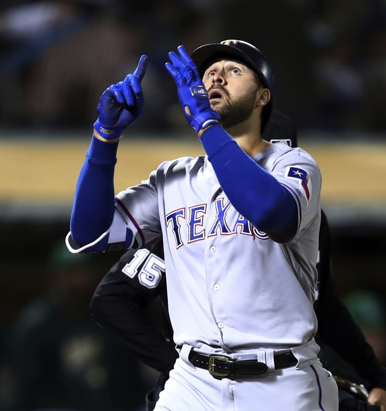 FILE - In this Sept. 7, 2018, file photo, Texas Rangers' Joey Gallo celebrates after hitting a two-run home run against the Oakland Athletics during the fourth inning of a baseball game, in Oakland, Calif. (AP Photo/Ben Margot, File)