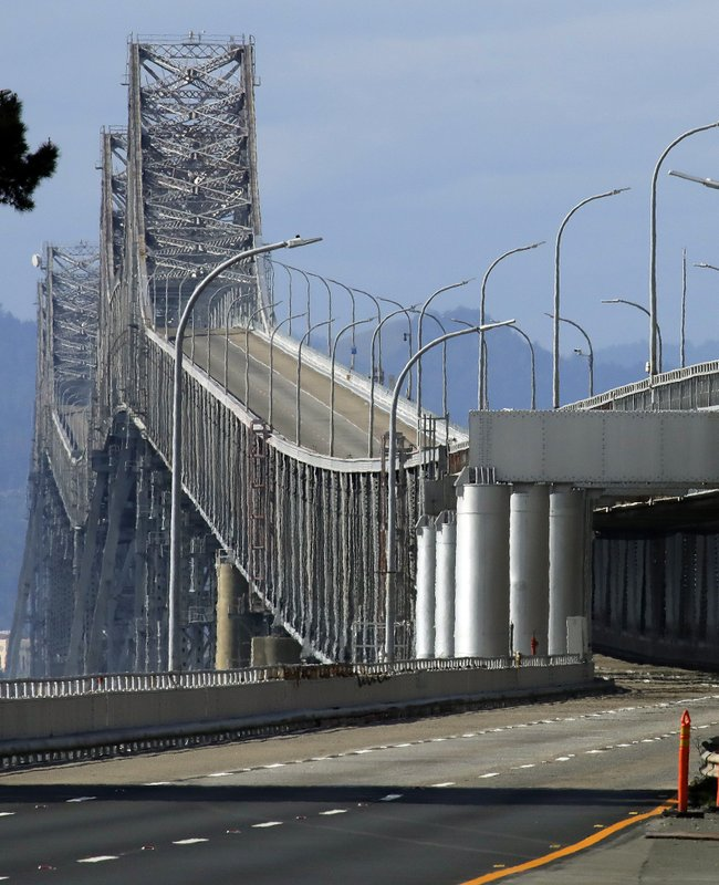 The roadway is empty along the Richmond-San Rafael bridge looking westbound from the toll plaza, Thursday, Feb. (AP Photo/Ben Margot)