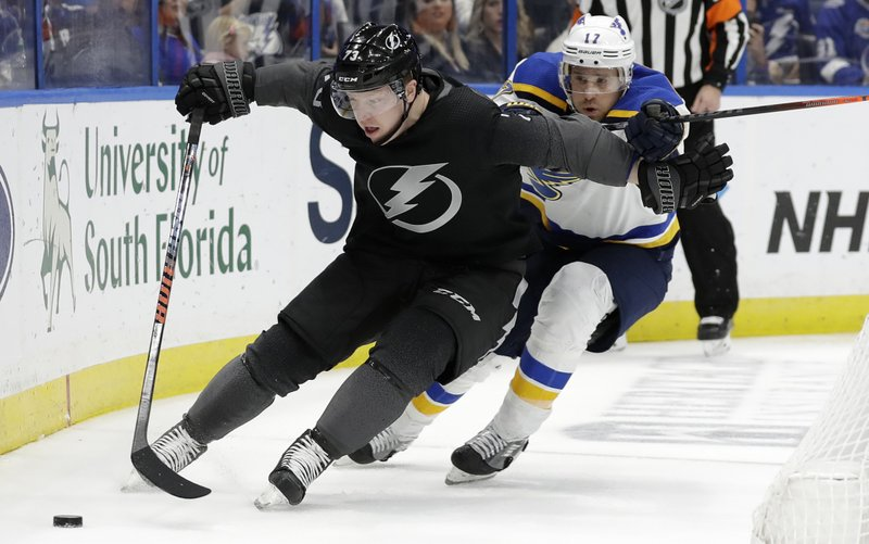 Tampa Bay Lightning left wing Adam Erne (73) pushes off St. Louis Blues left wing Jaden Schwartz (17) as he moves the puck along the dasher during the second period of an NHL hockey game Thursday, Feb. (AP Photo/Chris O'Meara)
